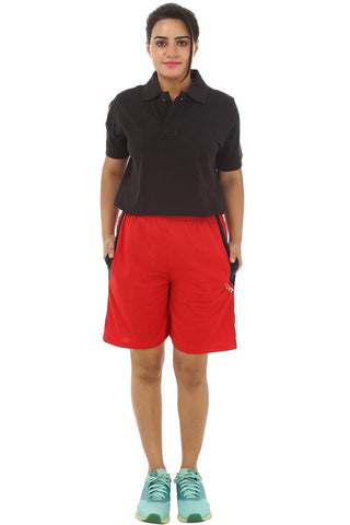 TeeMoods Cotton Women's Sports Short-Red-Full Front View