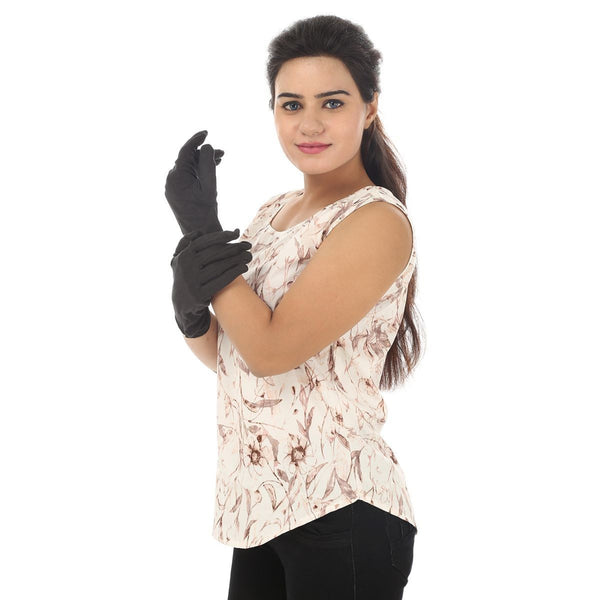 TeeMoods Protective Solid Black Women's Gloves