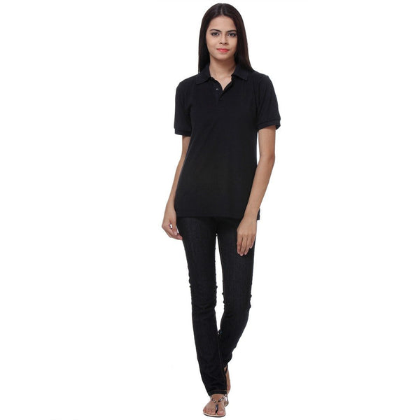 TeeMoods Black Womens Polo Shirt Full View