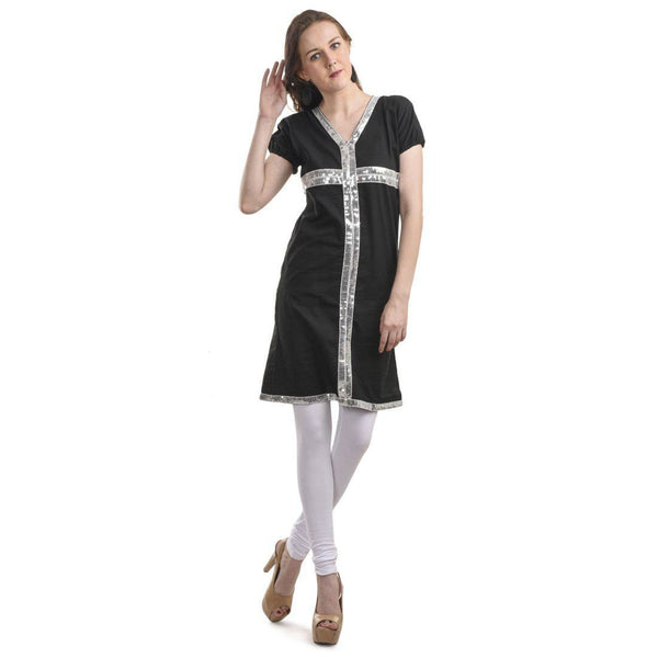 Silver Sequined Black KURTI -Full View