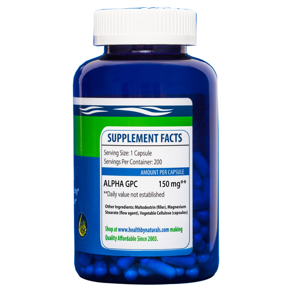 Alpha GPC 200 ct. 150 mg Capsules - Health Naturals