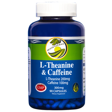 L-Theanine & Caffeine 90 ct. 300 mg Capsules - Health Naturals