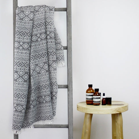TURKISH TOWEL - CARIBBEAN Charcoal by Collective Sol