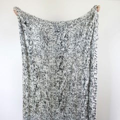 CLAUDETTE CHUNKY KNIT THROW Black & Ivory