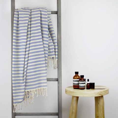 TURKISH TOWEL - MONACO Sailor Blue & Natural by Collective Sol