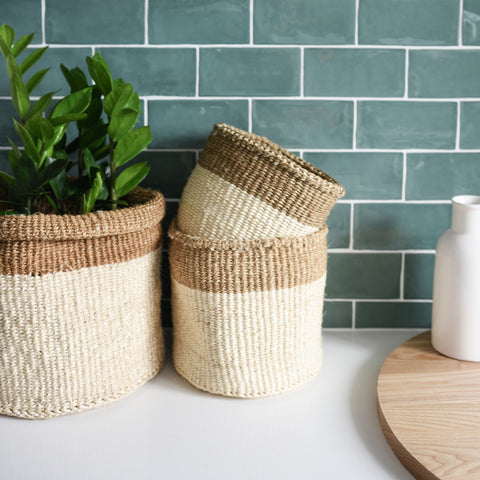 AFRICAN GRASS BASKET COLLECTION Large, Medium & Small
