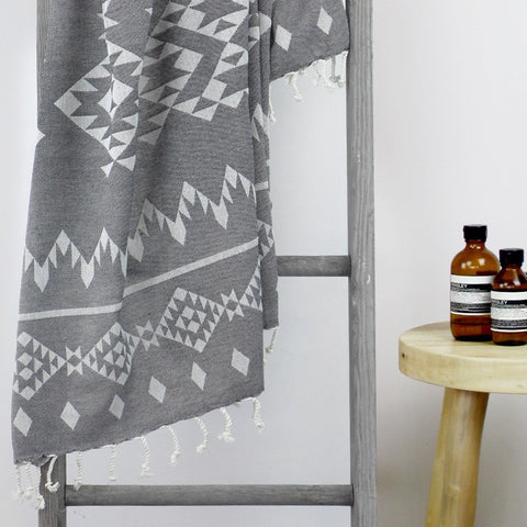 TURKISH TOWEL - SANTORINI Charcoal by Collective Sol