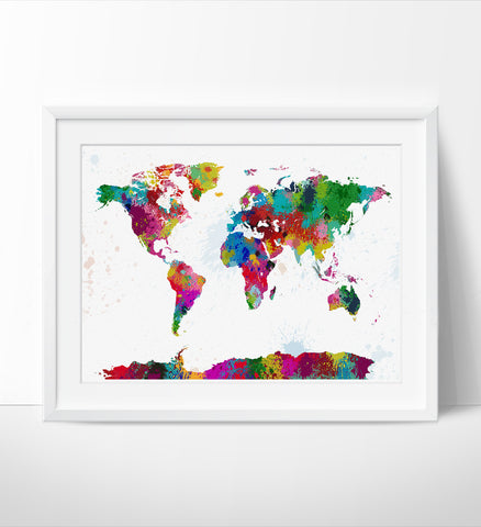 Splash World Map, Colorful World Map, Ink Splash World Map, Watercolor World Map,  World Map Abstract Art Print (04)