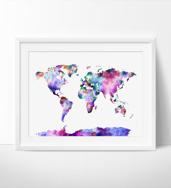 World map, Art Print, World Map Poster Large, Watercolor World Map Art, Artwork, World Map Wall Art, Painting (07)