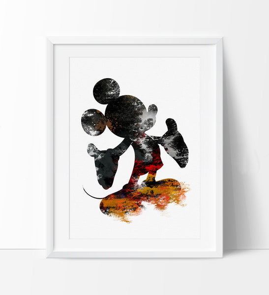 Mickey Mouse Birthday Watercolor Art Print, Mickey Mouse Poster, Mickey Mouse Watercolor Disney Art Print Digital Wall Art  (09)