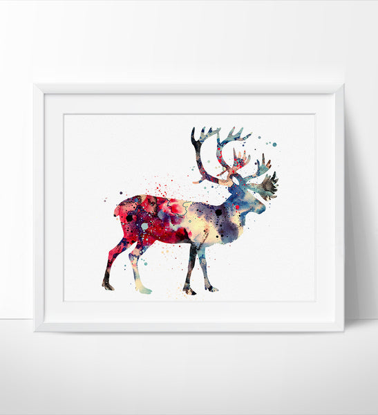 Deer Print, Watercolor Painting, Reindeer Animal Art, Deer Watercolor Art, Decor Wall Art, Deer Art, Watercolor Animal, Deer Poster (107)