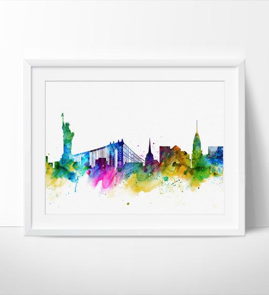 New York Poster, New York City, New york skyline, NYC Cityscape, New York Print, Watercolor Painting ,New York City Art, Fine art print(114)