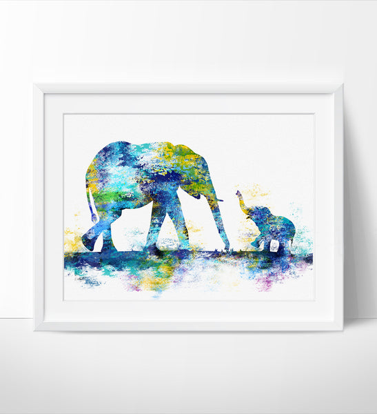 ... Large Abstract Painting, Elephant Art Print, Elephant Abstract Art ,  Wall Art Print, ...