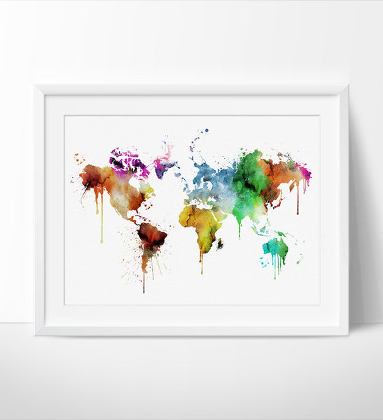 WORLD MAP, Large World Map, Watercolor World Map, World Map Art, Wall Art, World Map Poster, Home decor, map of the world, Art, Travel (126)