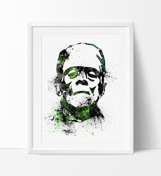 Frankenstein Art Print, Frankenstein Poster, Watercolor Painting, Watercolor Print, Portrait of Frankenstein, Halloween Wall Art (137)