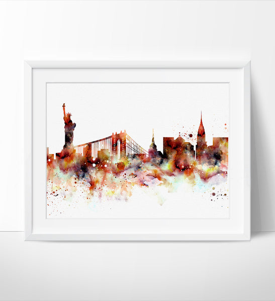 New York Skyline, NYC Cityscape Art, Watercolor Painting, Watercolor Art, New York Print, New York Map, Art Print,Watercolor Poster(148)