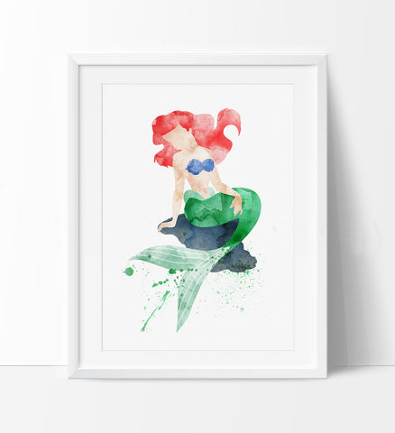 Ariel, Princess Ariel, Disney Watercolor, Watercolor Mermaid Ariel, Watercolor Mermaid Print, Watercolor Poster, Kids Wall Art Decor (159)