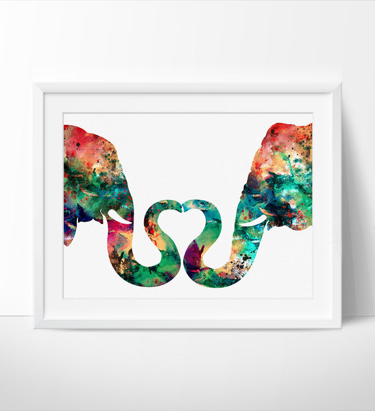 Abstract Painting Elephant Love Watercolor Print Abstract Watercolor Painting Large Abstract Art Wall Art Art Print Poster 165