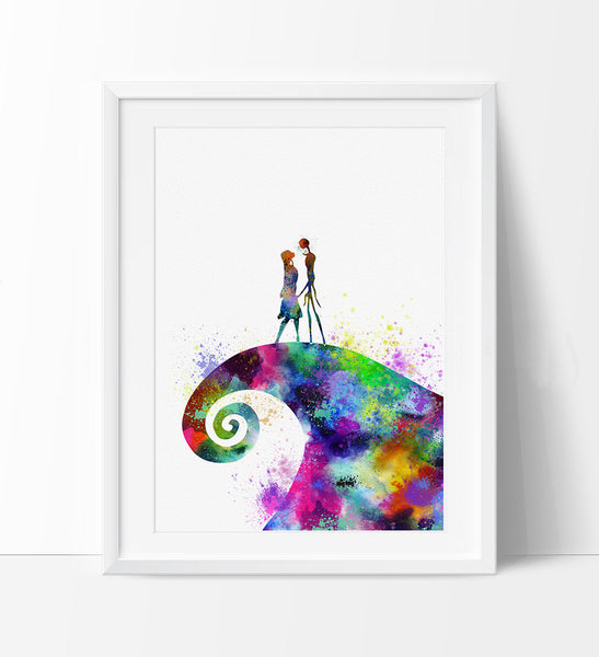 Christmas Art.The Nightmare Before Christmas Print Watercolor Poster Illustration Wall Art Halloween Halloween Decor Jack Skellington Sally 173