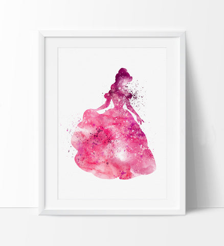 Beauty and the Beast Belle, Watercolor Nursery Art, Disney Princess, Wall Art, Wall Hanging, Watercolor Painting, Gift (181)