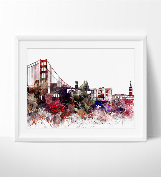 San Francisco Skyline, Watercolor San Francisco, Art Print, Cityscape, Artwork, San Francisco Poster, Home Decor, Art, City Wall Art (189)