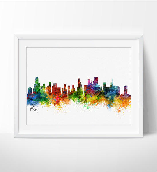 Chicago Skyline Watercolor Print, United States Chicago London Cityscape Art Print, Watercolor Skyline (18)
