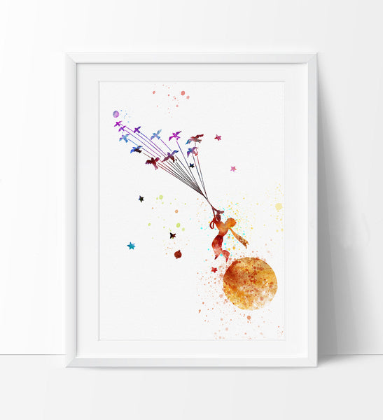 The Little Prince, Watercolor Nursery Art, Le Petit Prince, Wall Art, Wall Hanging, Watercolor Painting, Gift, Childrens Room Decor(191)