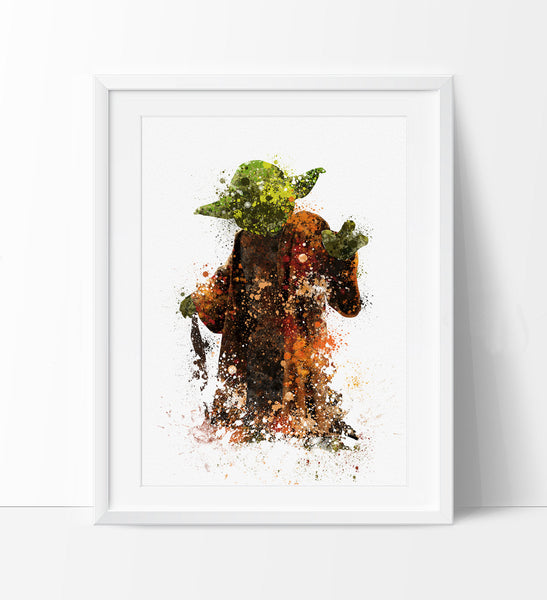 ... Star Wars Print, Yoda Print, Yoda Art Poster, Abstract Movie Poster,Star  ...