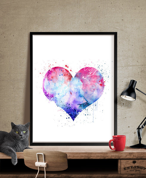 Heart Love Poster, Wall Art Print, Home Decor, Watercolor Painting, Watercolor Art, Wall Decor, Wall Hanging, Nursery decor (319)