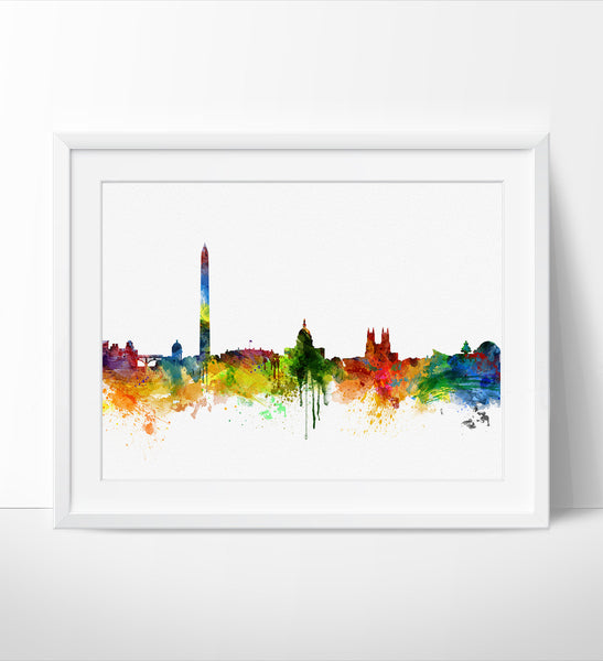 Washington dc  Skyline Watercolor Print, washington dc Cityscape Art Print, Watercolor Skyline (218)