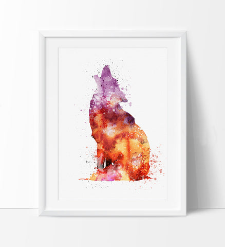 Wolf Watercolor Print, Wolf  art, watercolor painting, watercolor art, Illustration,home decor, wall art, animal art, poster (227)