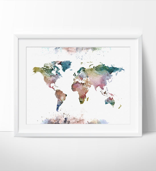 ... World Map Wall Art, Large World Map Poster, Watercolor World Map Art,  Map ...