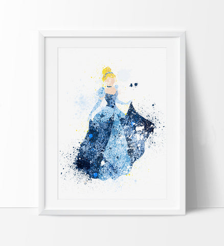 Cinderella, Disney Princess Art,Watercolor Painting, Watercolor art, Nursery Art, Wall art print, Baby Room wall hanging, wall decor (253)
