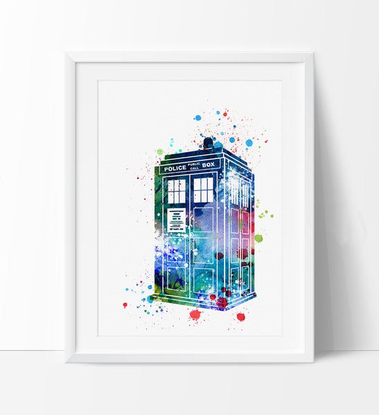 Tardis from Dr Who Art, Doctor Who Art, Wall Art poster, Watercolor Painting, Watercolor art, Wall art print, wall hanging, tardis box (256)