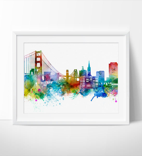 ... San Francisco Skyline, San Francisco Wall Art, San Francisco Poster,  Cityscape Art Print ...