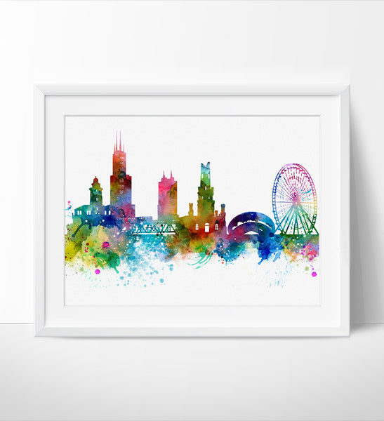 ... Chicago Skyline, Chicago Wall Art, Chicago Poster, Cityscape Art Print,  City Wall ...
