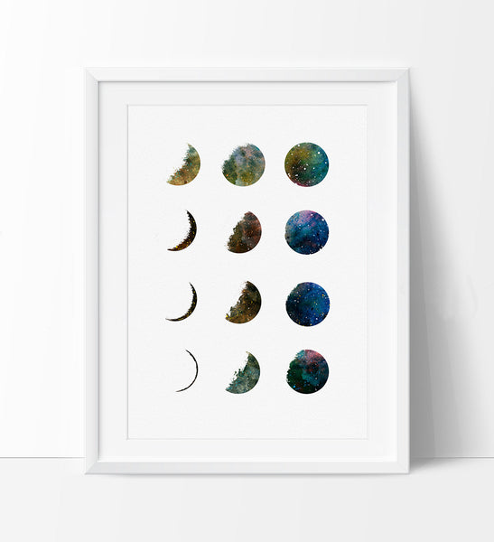 Galaxy Moon Phase Art Print, Watercolor Moon, Moon Poster Art Print, Watercolor Painting, Watercolor Art, Home Decor, wall decor (279)