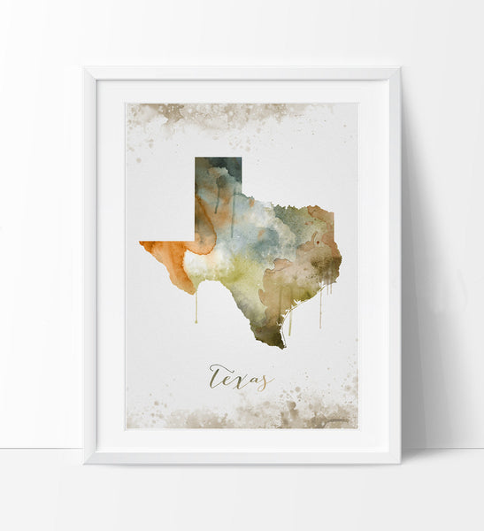 ... Texas Wall Art, Art Print Texas Decor, Texas Map Art, Watercolor State,  ...