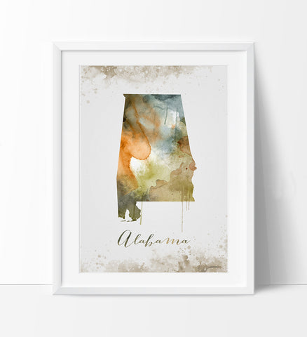 Alabama Wall Art, Art Print Alabama Decor, Alabama Map Art, Watercolor State, Watercolor Alabama Print ArtWork, Wall Art (289)