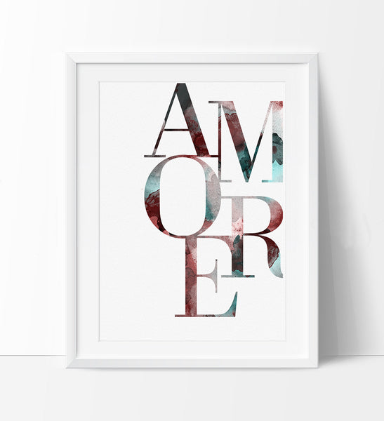 amore typography print typography wall art love print poster