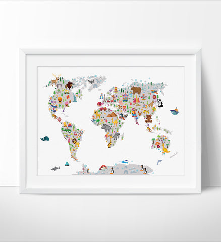 World map arts fine art center kids world map wall art map poster animal map of the world gumiabroncs Image collections