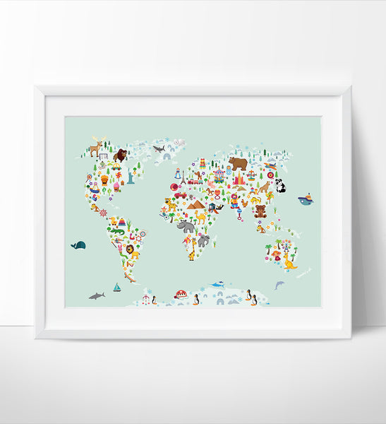 World Map Wall Art, Kids room Nursery decor, Animal World poster Map ...