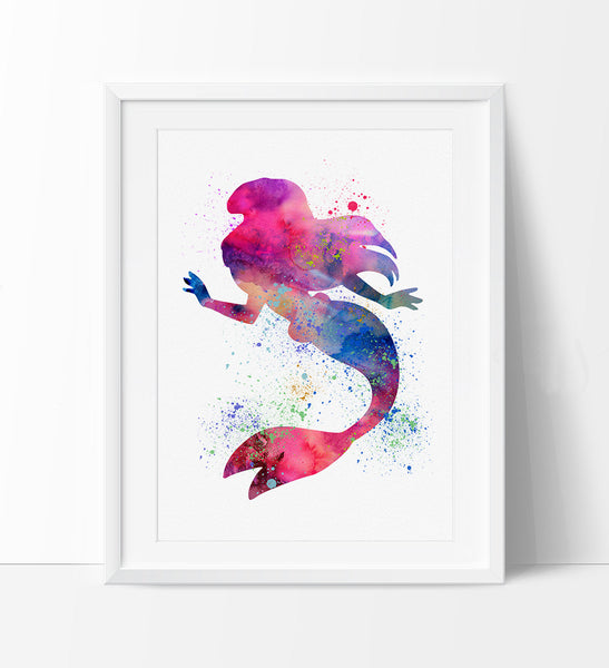 Ariel Disney Watercolor Wall Art Princess Watercolor