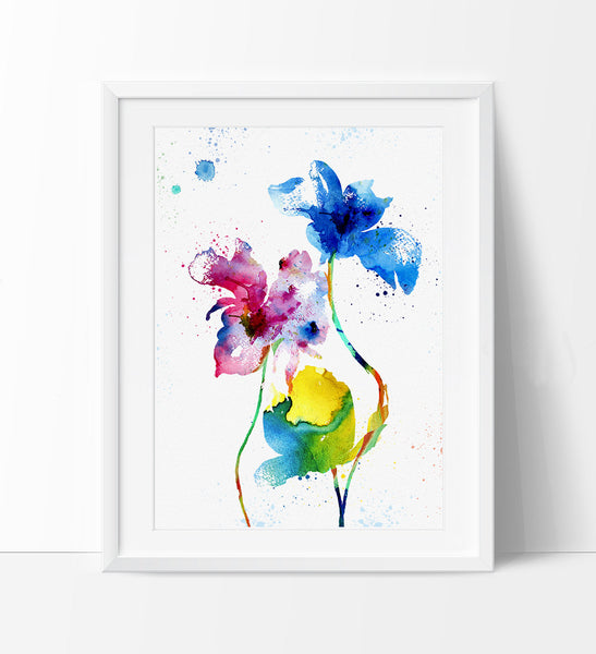 Watercolor Flowers, Flower Art Painting, Watercolor Art Print, Flower Print Wall Decor, Colorful Flowers Gift Poster (39)