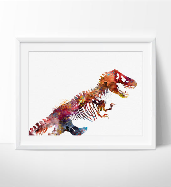Dinosaurs Skeleton Watercolor Art Print, Colorful Dinosaurs Watercolor Painting, Wall Art Print, Animal Poster (48)