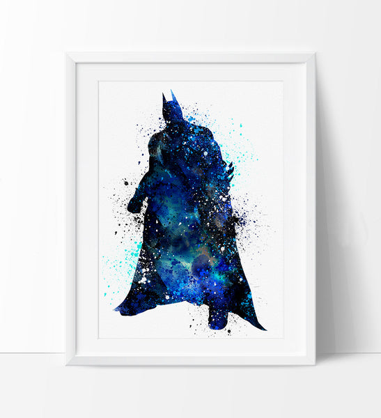 Batman Watercolor Print, Batman Art, Watercolor Batman Print, Super Hero Poster, Wall Art Poster  (63)