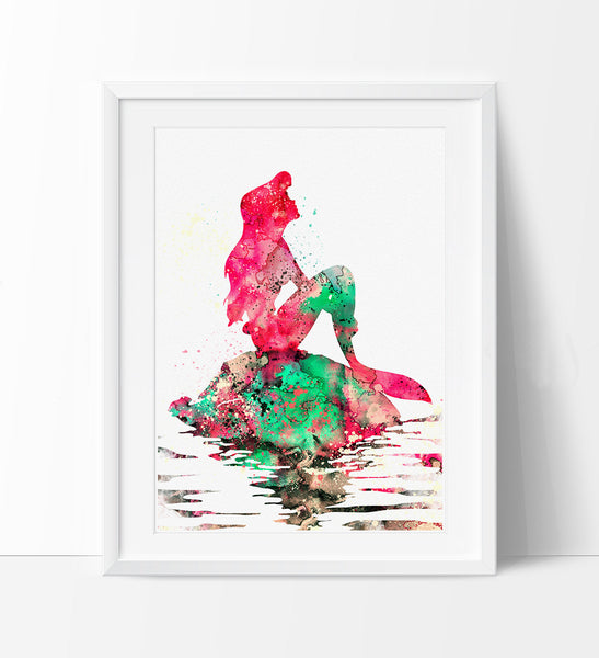 Ariel Watercolor Print, Disney Art, Watercolor Art, Nursery Room Poster, Ariel Print Watercolor Painting, Disney Print (72)
