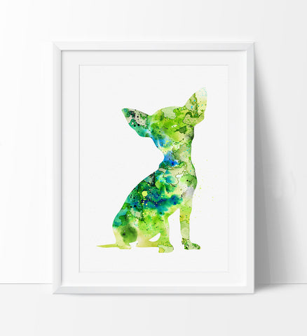 Dog Art, Chihuahua Art Print, Dog Watercolor Art, Dog Painting Wall Art Poster, Animal Art Decor, Watercolor Artwork (76)