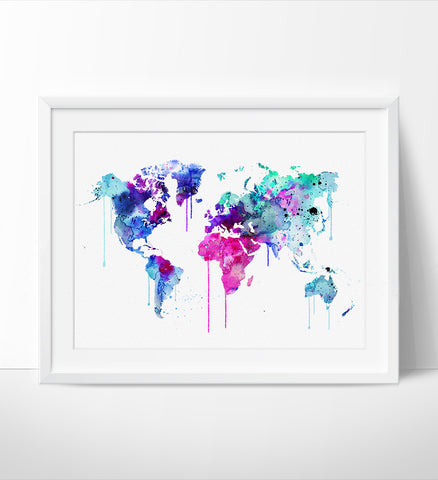 Colorful Watercolour World Map Art Print, Watercolor Art, Watercolor print, World Map Print, Watercolor Map Print,Watercolor Map Poster(78)