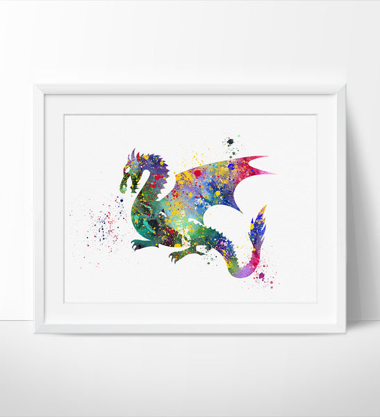 Dragon Painting Wall Art Picture, Dragon Art Print, Dragon Watercolor Art Print Wall Art Poster Wall Decor Art Home Decor Wall Hanging(90)